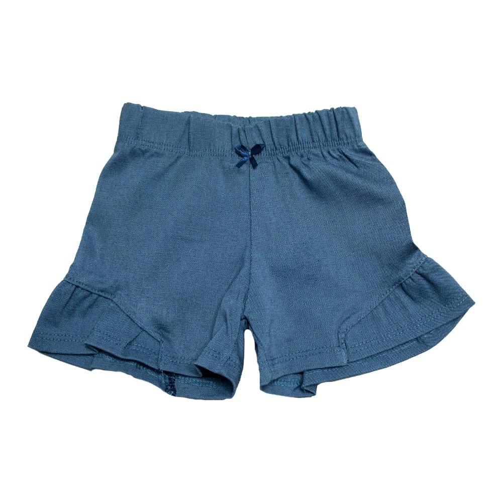 Shorts Bebê Com Recorte   Azul  - Jeito Infantil