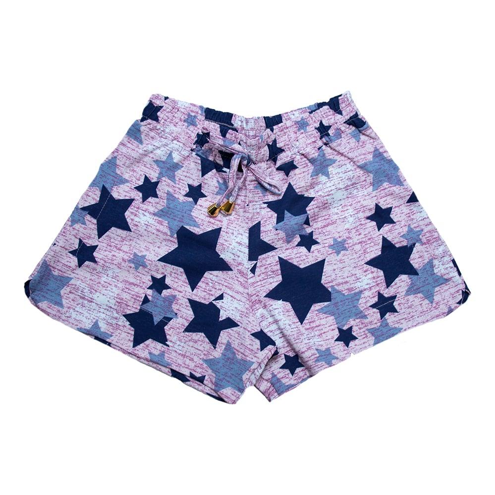 Shorts Infantil / Juvenil Estrelas Rosa  - Jeito Infantil