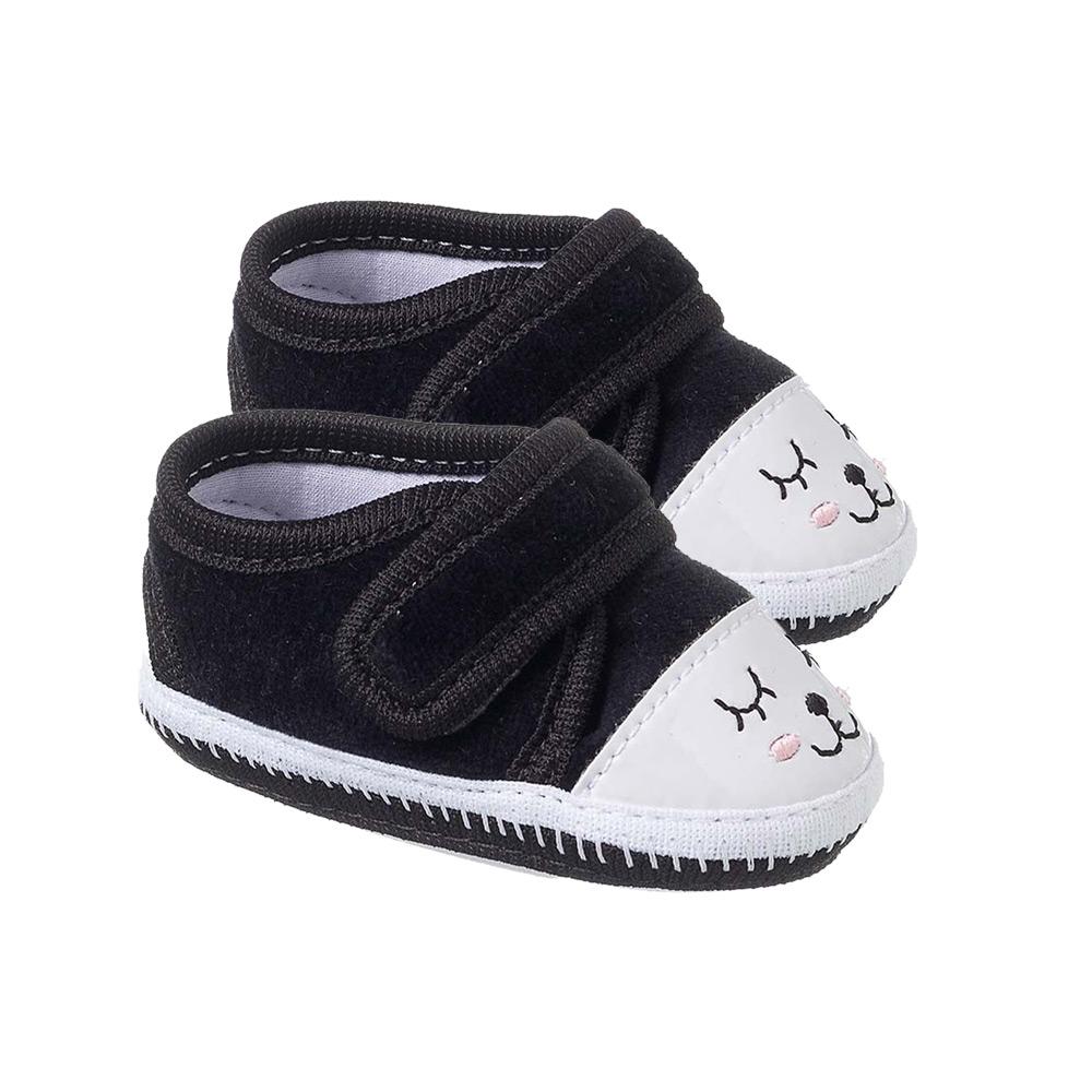 Tênis Bebê Cílios com Velcro Preto  - Jeito Infantil