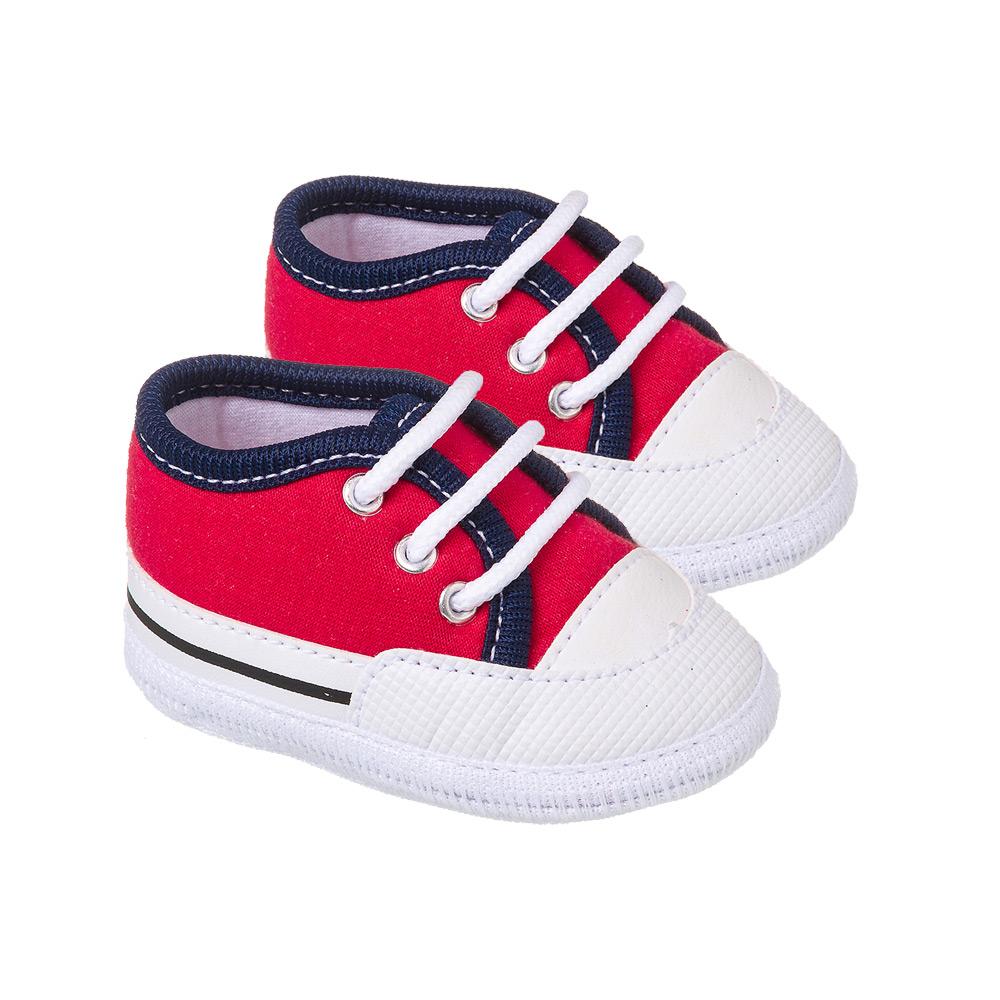 Tênis Bebê Com Cadarço Vermelho  - Jeito Infantil