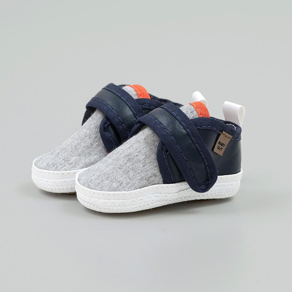 Tênis Bebê Com Velcro Mescla e Marinho  - Jeito Infantil