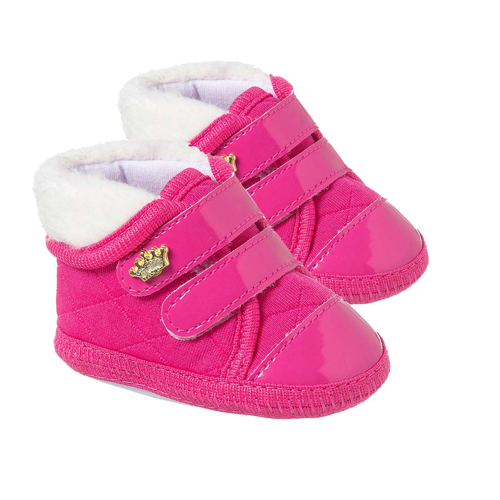 Tênis Bebê Coroa com Velcro Pink  - Jeito Infantil