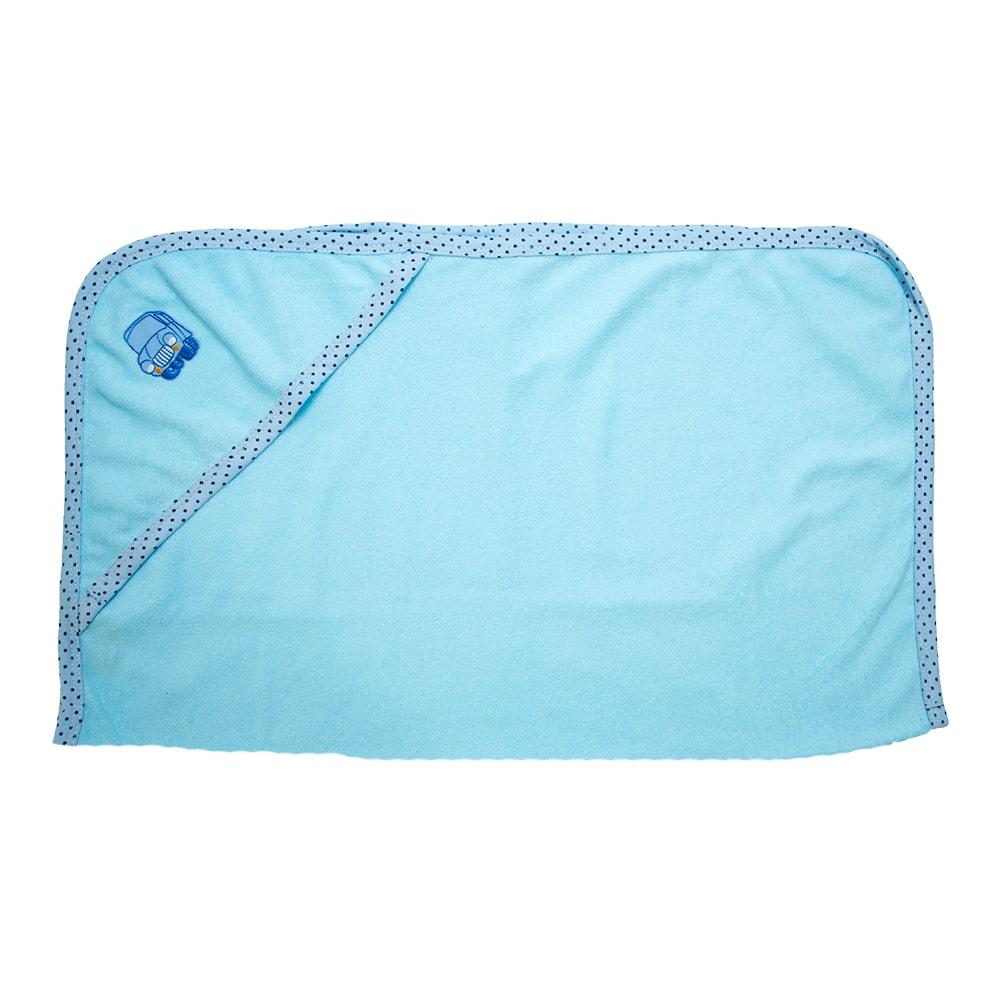 Toalha Bebê Com Aplique Azul  - Jeito Infantil