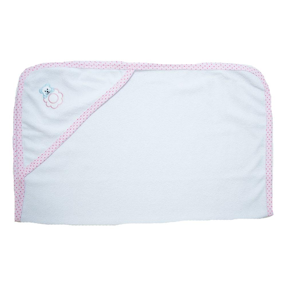 Toalha Bebê Com Aplique Branco Com Rosa  - Jeito Infantil