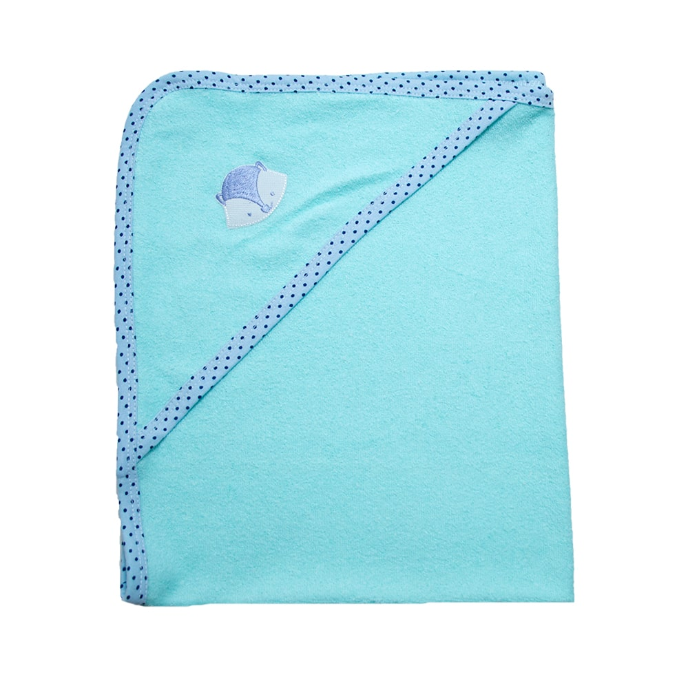 Toalha Bebê Com Aplique Verde Com Azul  - Jeito Infantil