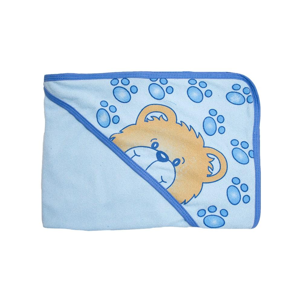 Toalha Bebê Com Touca Azul  - Jeito Infantil