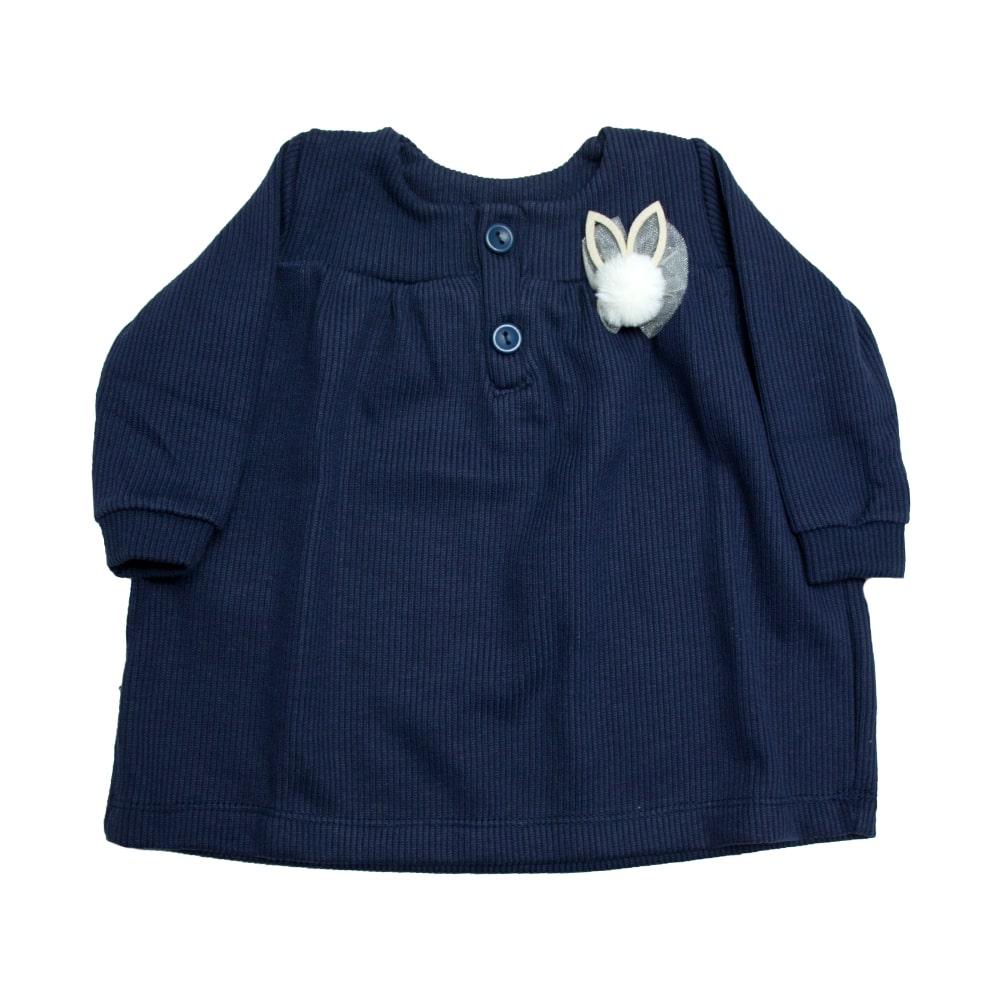 Vestido Bebê Canelado Marinho  - Jeito Infantil