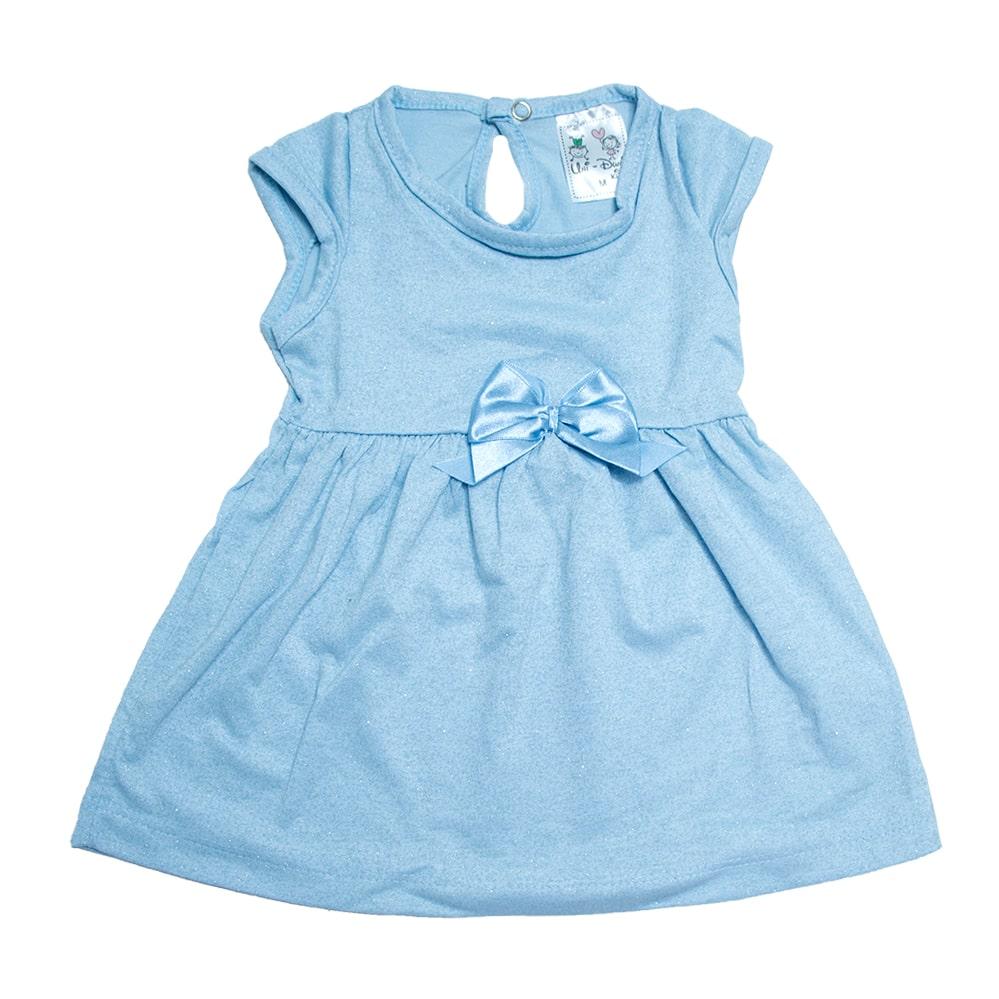 Vestido Bebê Com Laço Azul  - Jeito Infantil