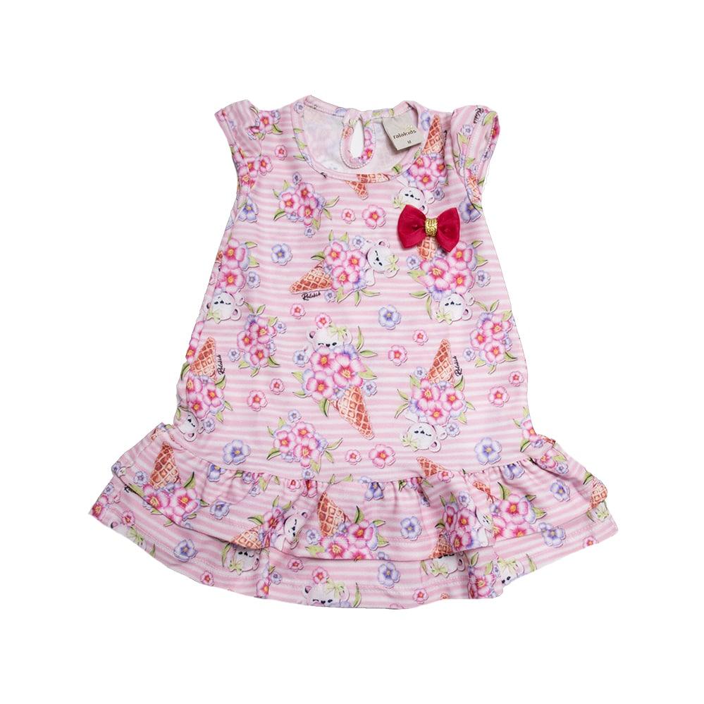 Vestido Bebê Dois Babados Rosa  - Jeito Infantil