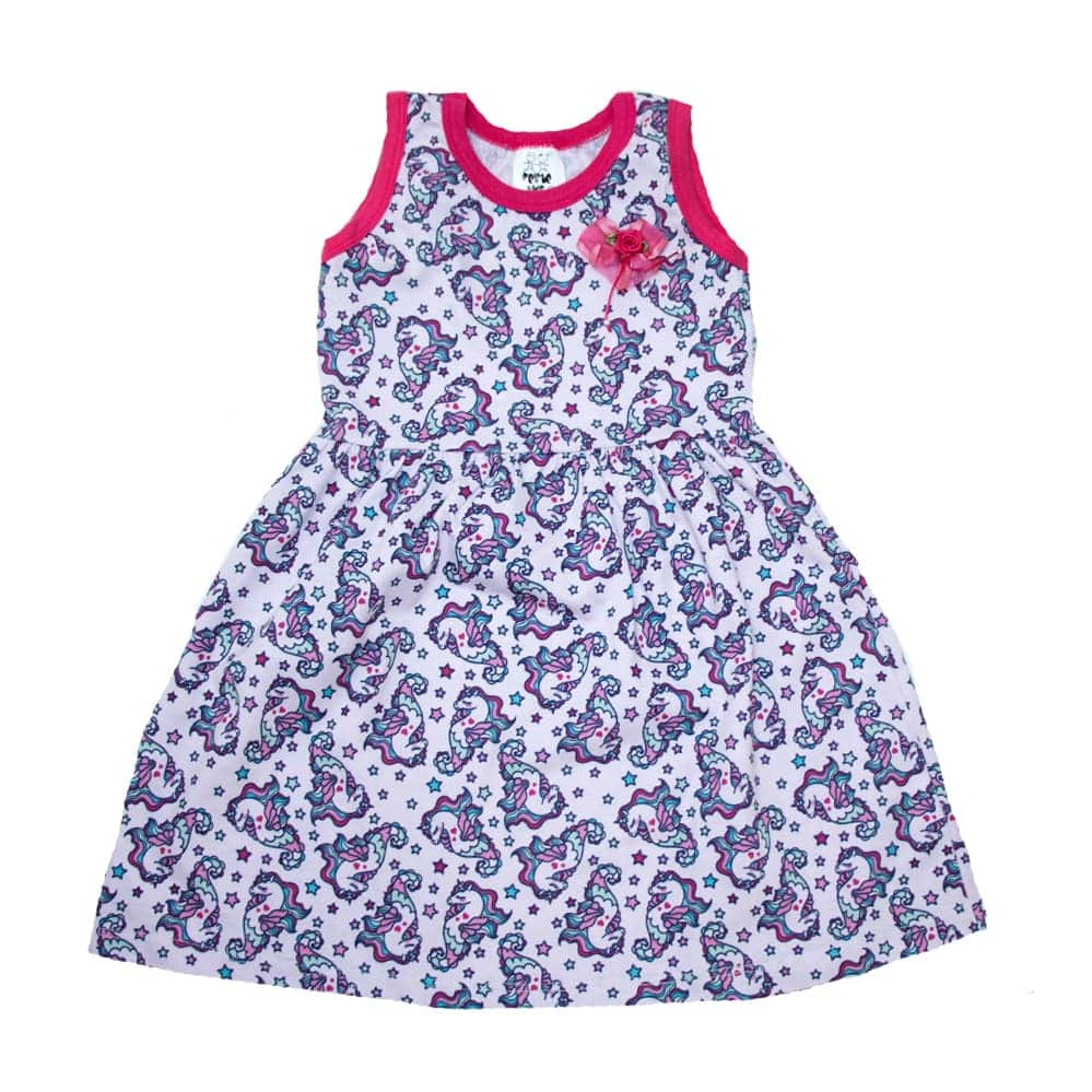 Vestido Bebê/Infantil Unicórnio Rosa  - Jeito Infantil