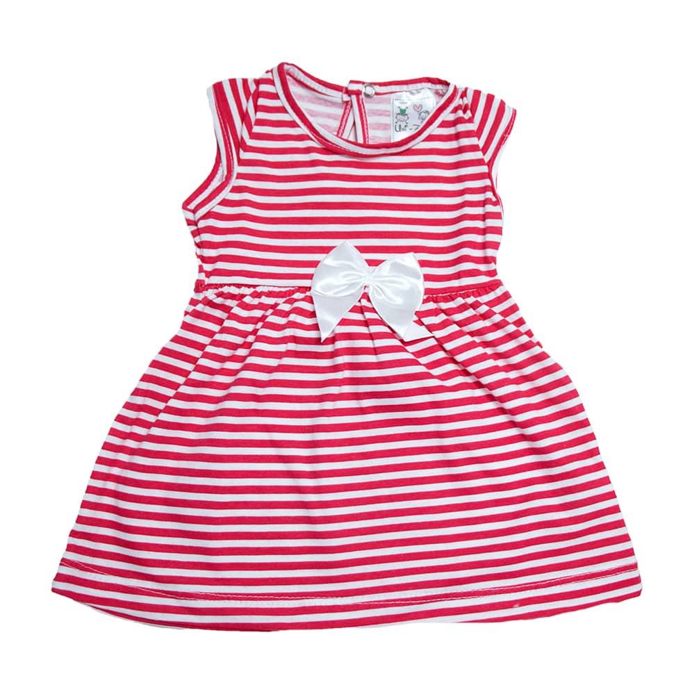 Vestido Bebê Listras Coral  - Jeito Infantil