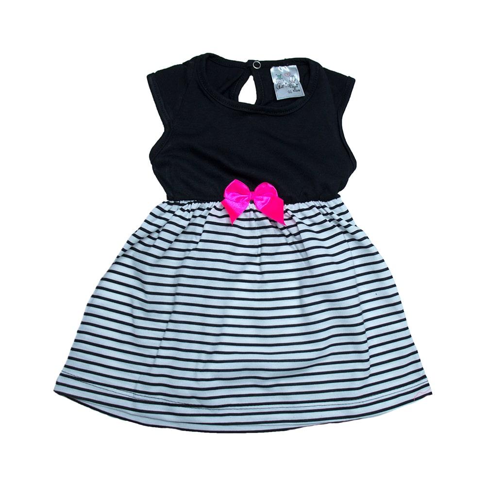 Vestido Bebê ListrasPreto  - Jeito Infantil