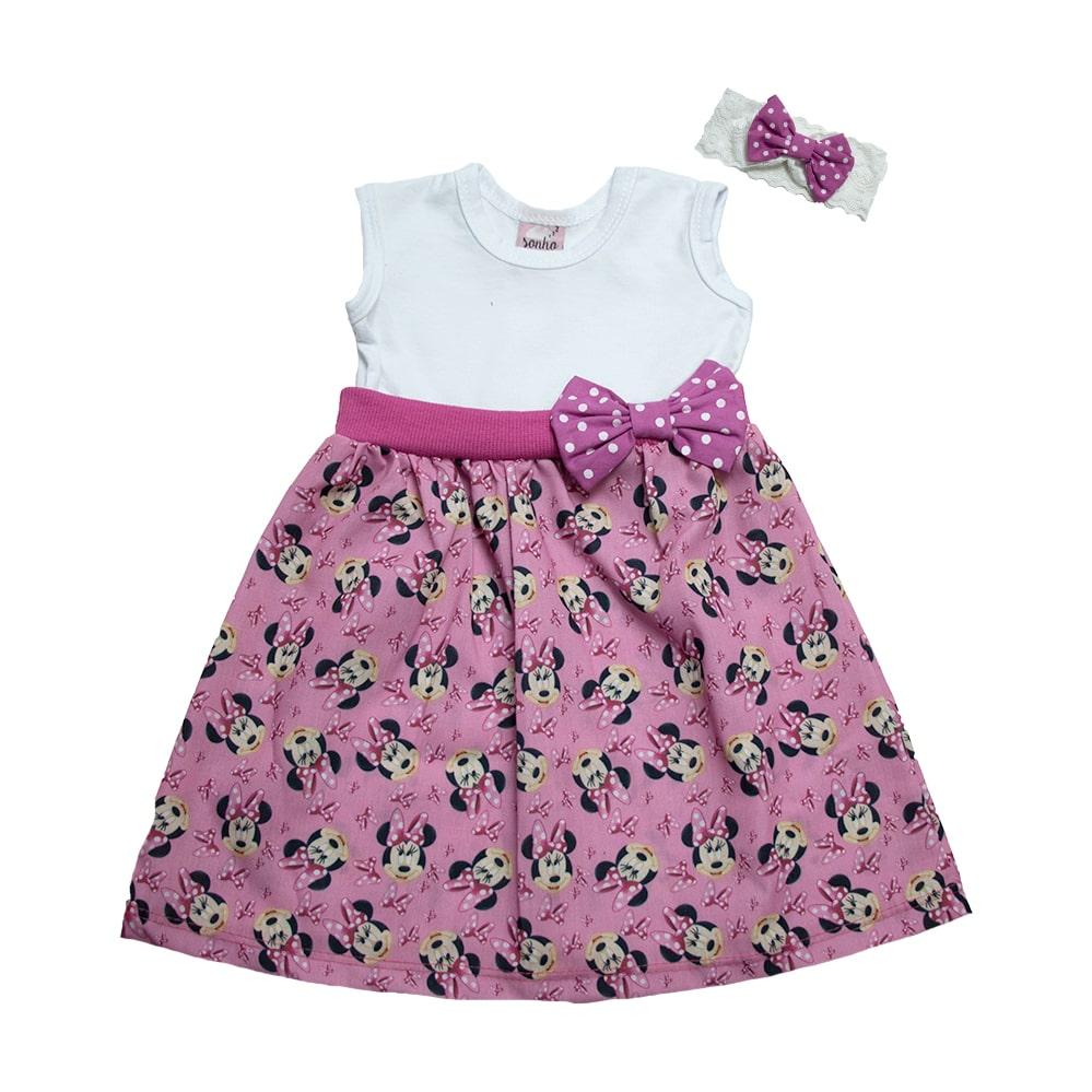 Vestido Bebê Minnie Com Faixa de cabelo Sonho Rosa  - Jeito Infantil
