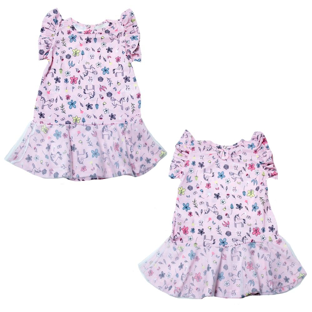 Vestido Bebê Poliplex  Rosa  - Jeito Infantil