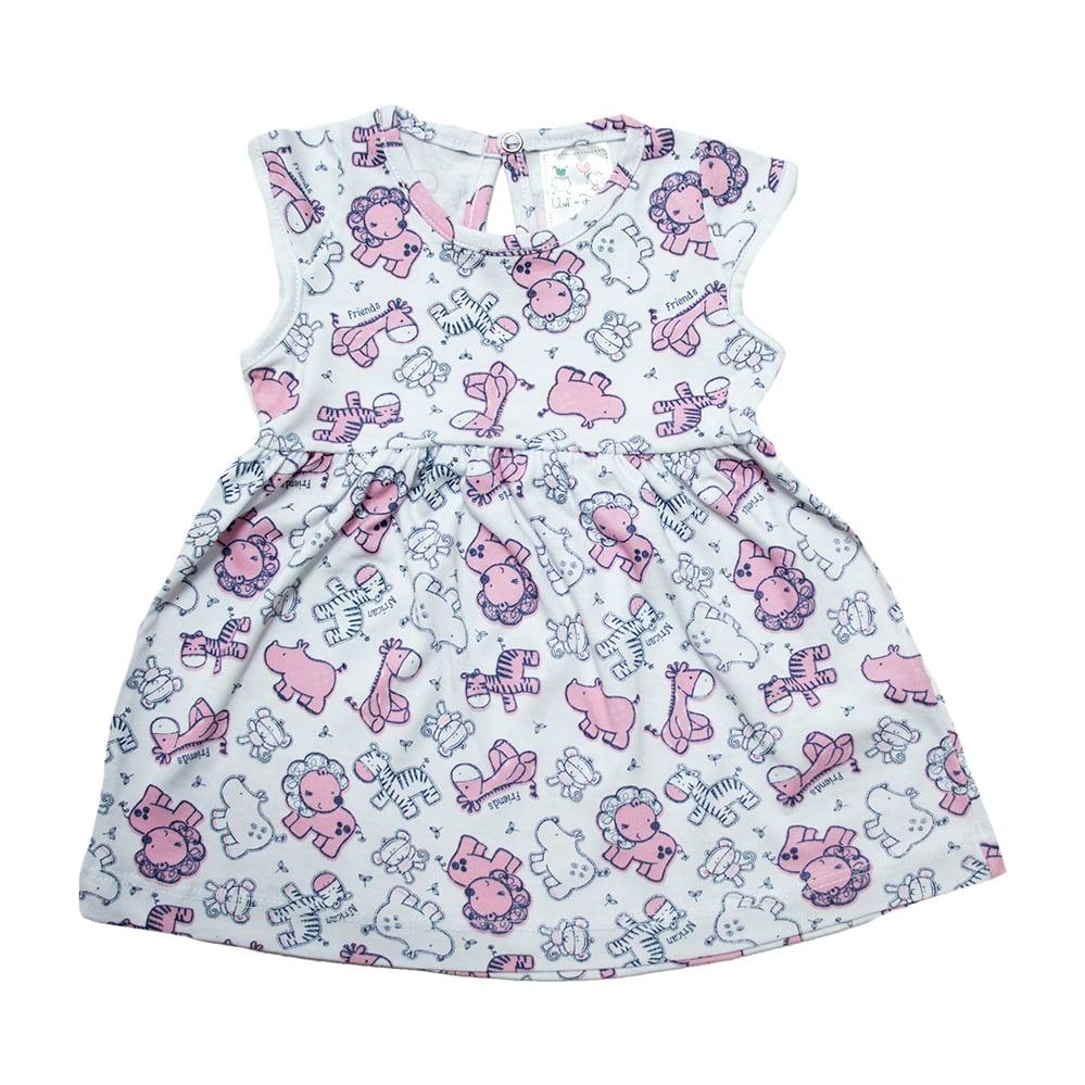 Vestido Bebê Safari Branco  - Jeito Infantil