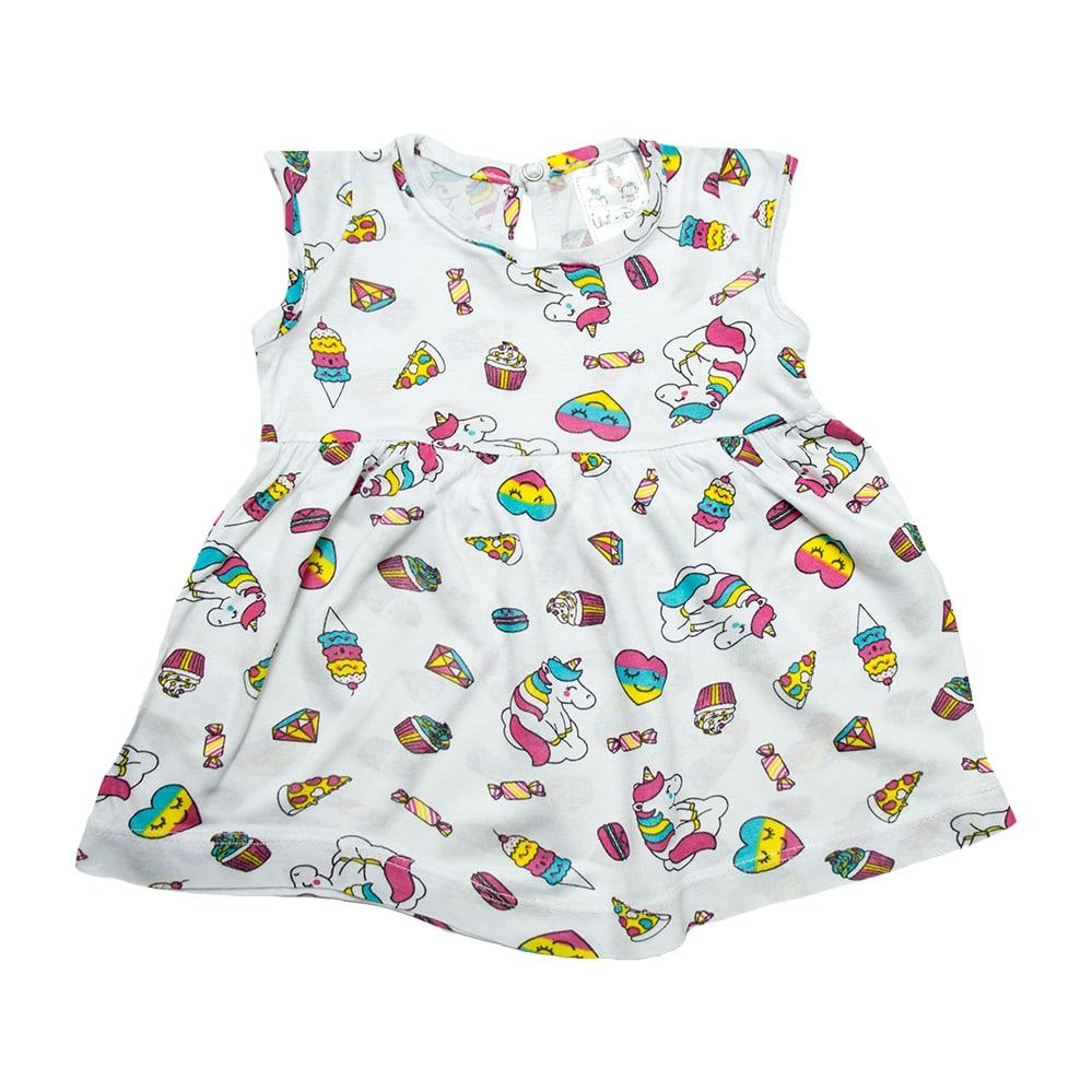 Vestido Bebê Unicórnio Branco  - Jeito Infantil