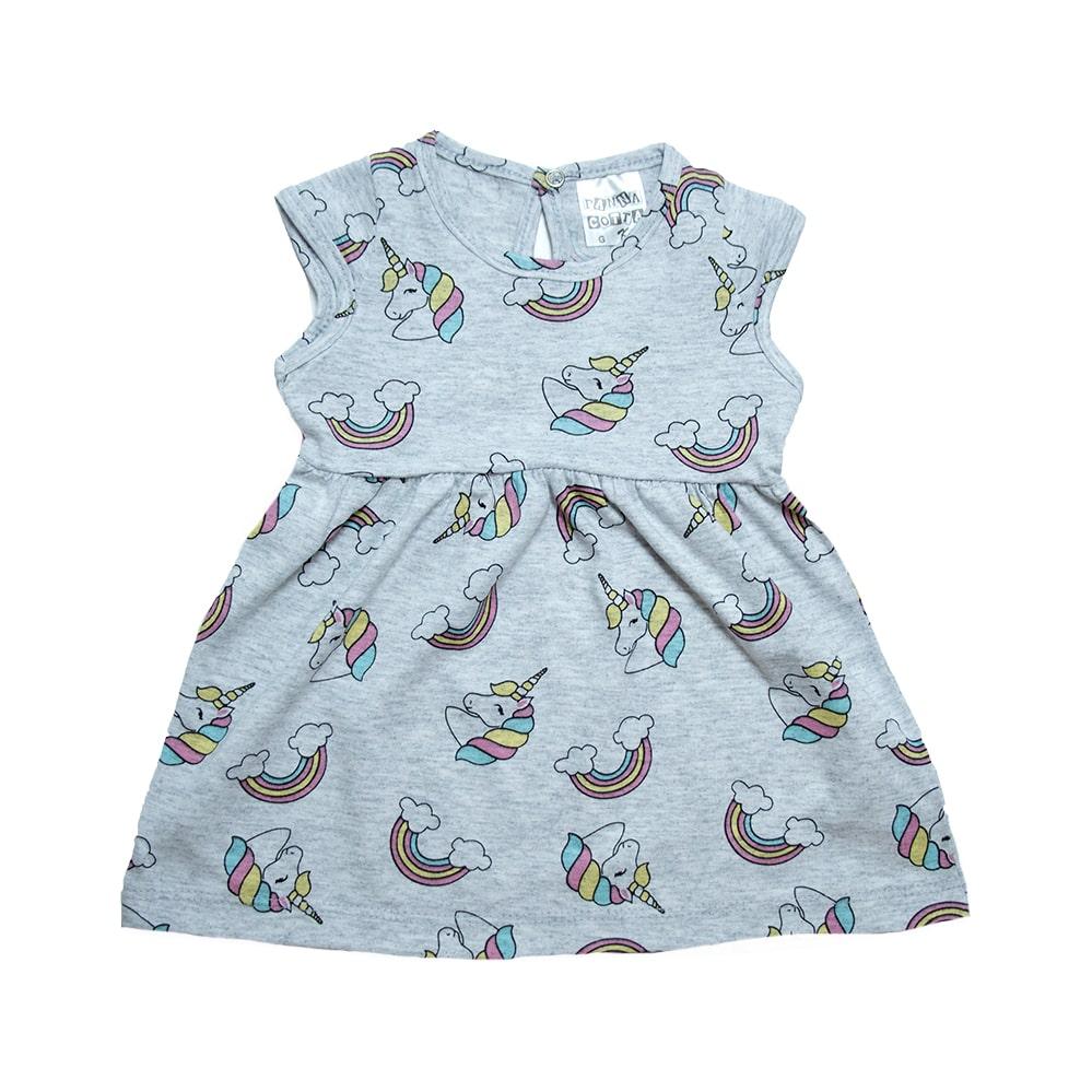 Vestido Bebê Unicórnio Mescla  - Jeito Infantil