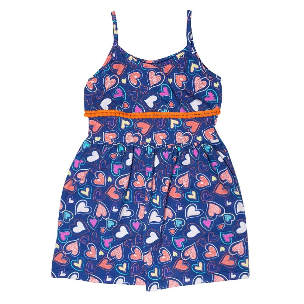Vestido Infantil Babado e Pompom Laranja  - Jeito Infantil