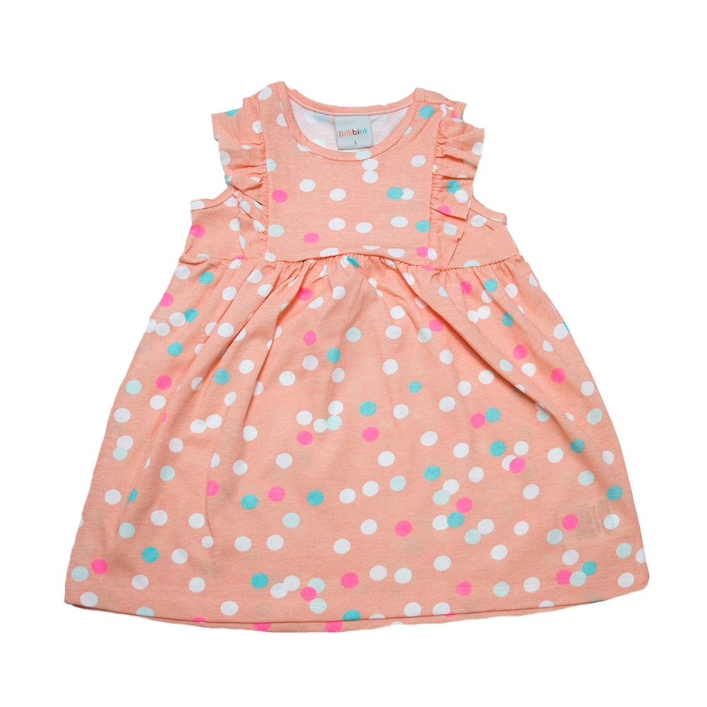 Vestido Infantil Bolas Salmão  - Jeito Infantil