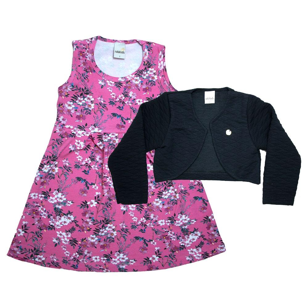 Vestido Infantil Com Bolero Rosa  - Jeito Infantil