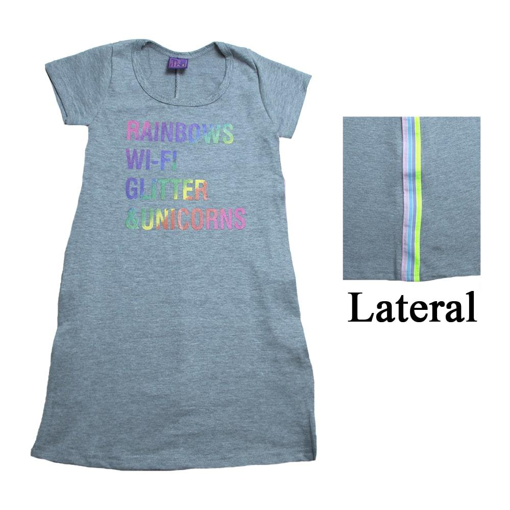 Vestido Infantil Com Faixa Lateral Mescla  - Jeito Infantil