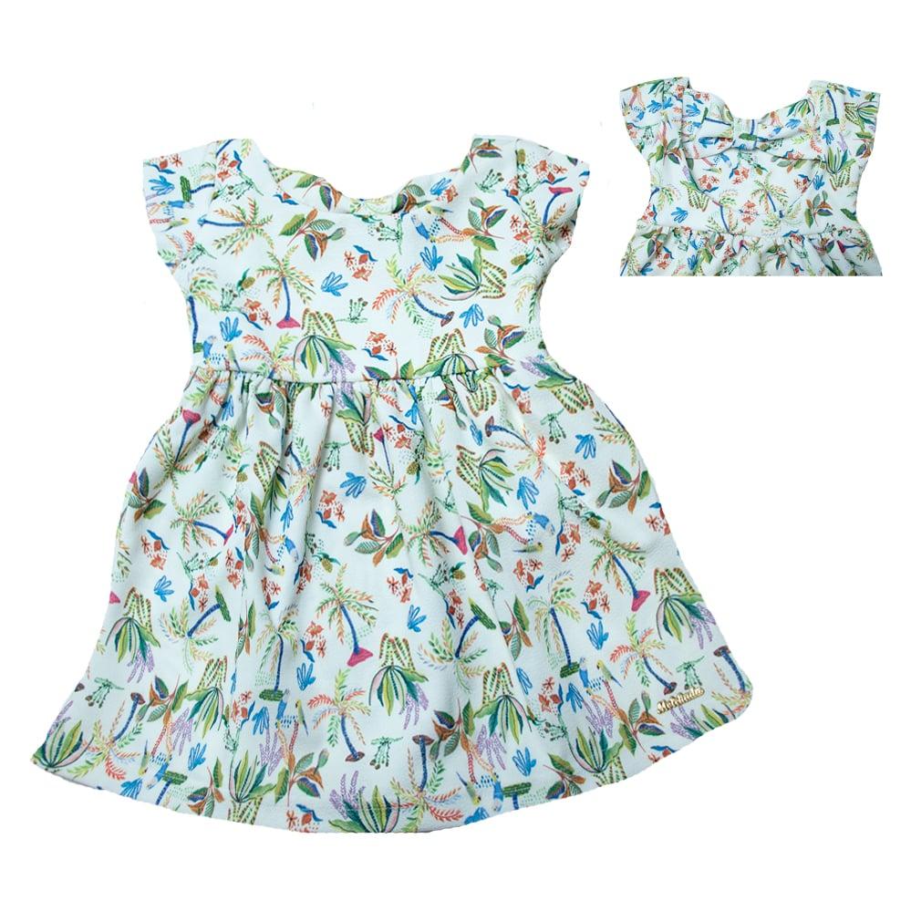 Vestido Infantil Estampa Pássaros Pérola  - Jeito Infantil