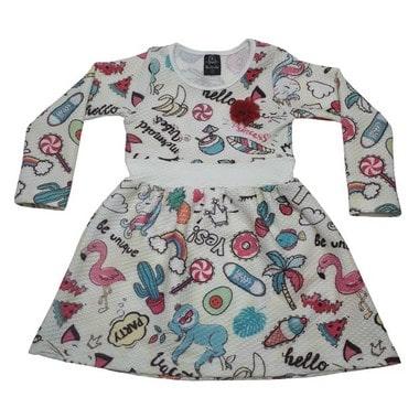 Vestido Infantil Favinho Tropical Pérola  - Jeito Infantil