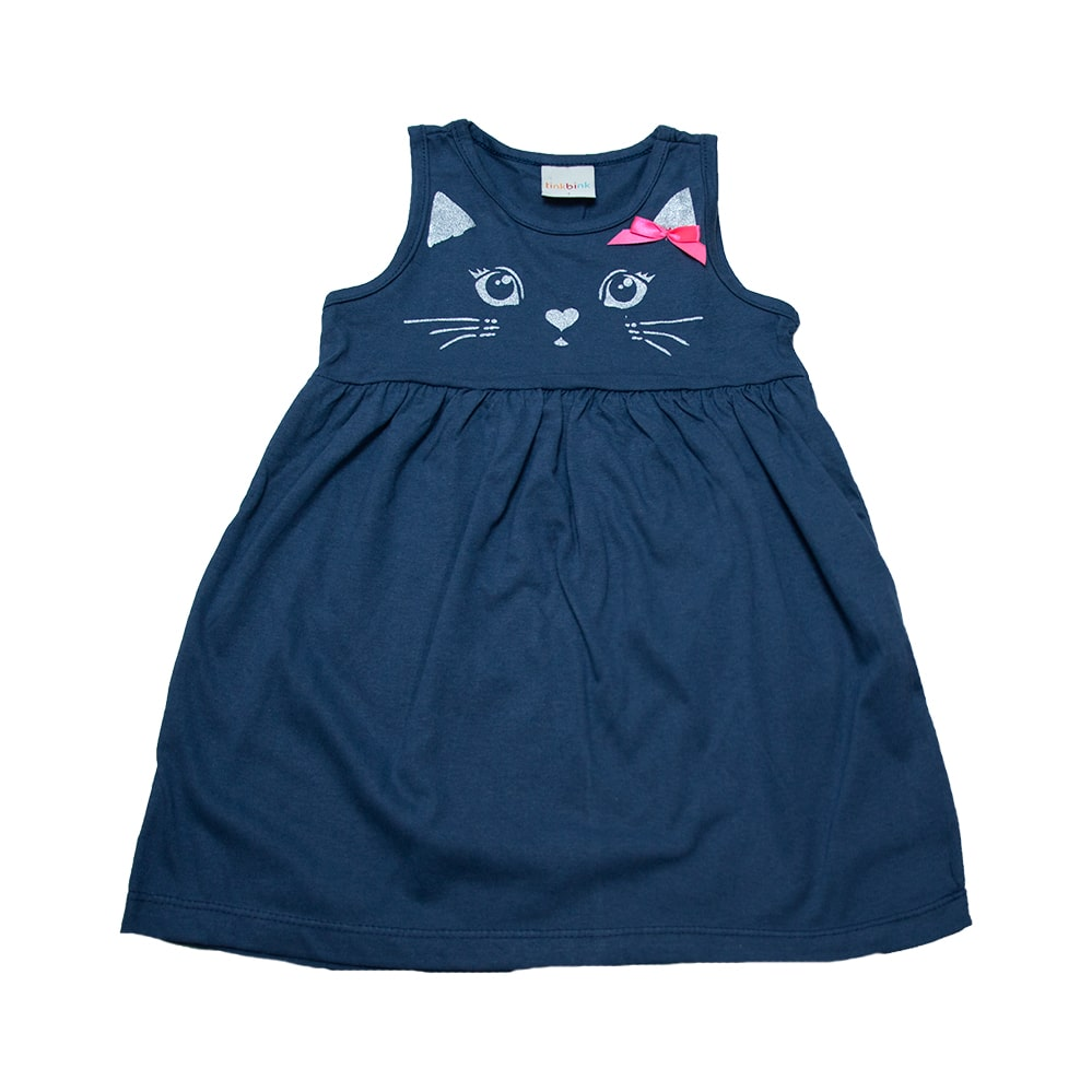 Vestido Infantil Gatinha Marinho  - Jeito Infantil