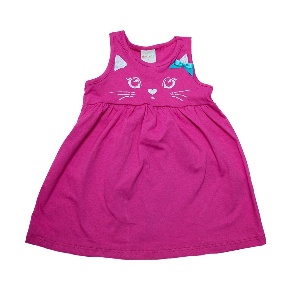 Vestido Infantil Gatinha Pink  - Jeito Infantil