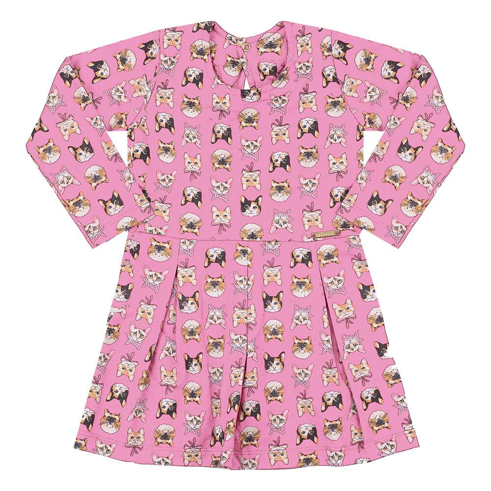 Vestido Infantil Gatinhos Rosa  - Jeito Infantil