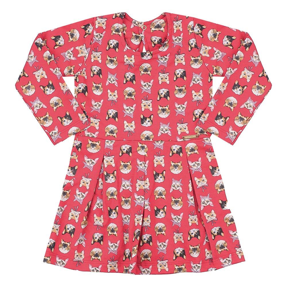 Vestido Infantil Gatinhos Salmão  - Jeito Infantil