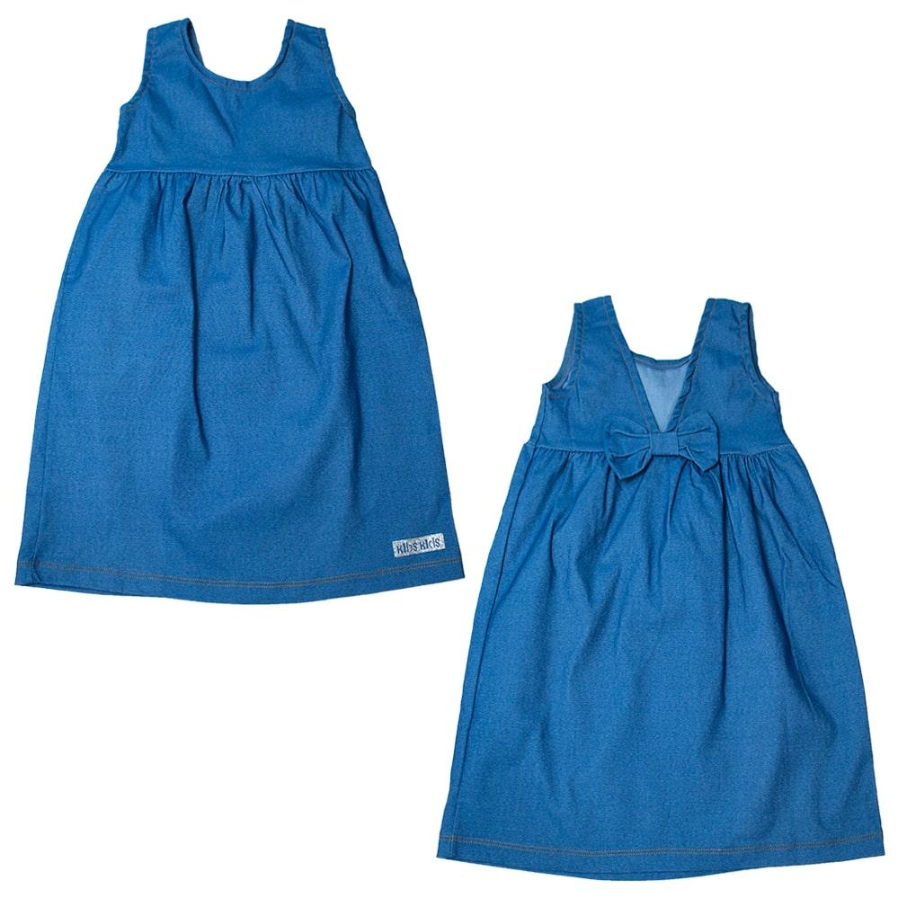 Vestido Infantil Laço Costa Azul  - Jeito Infantil
