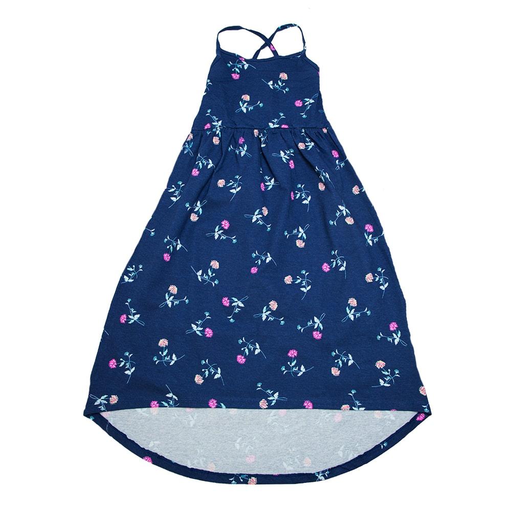 Vestido Infantil Longo Estampado Marinho  - Jeito Infantil