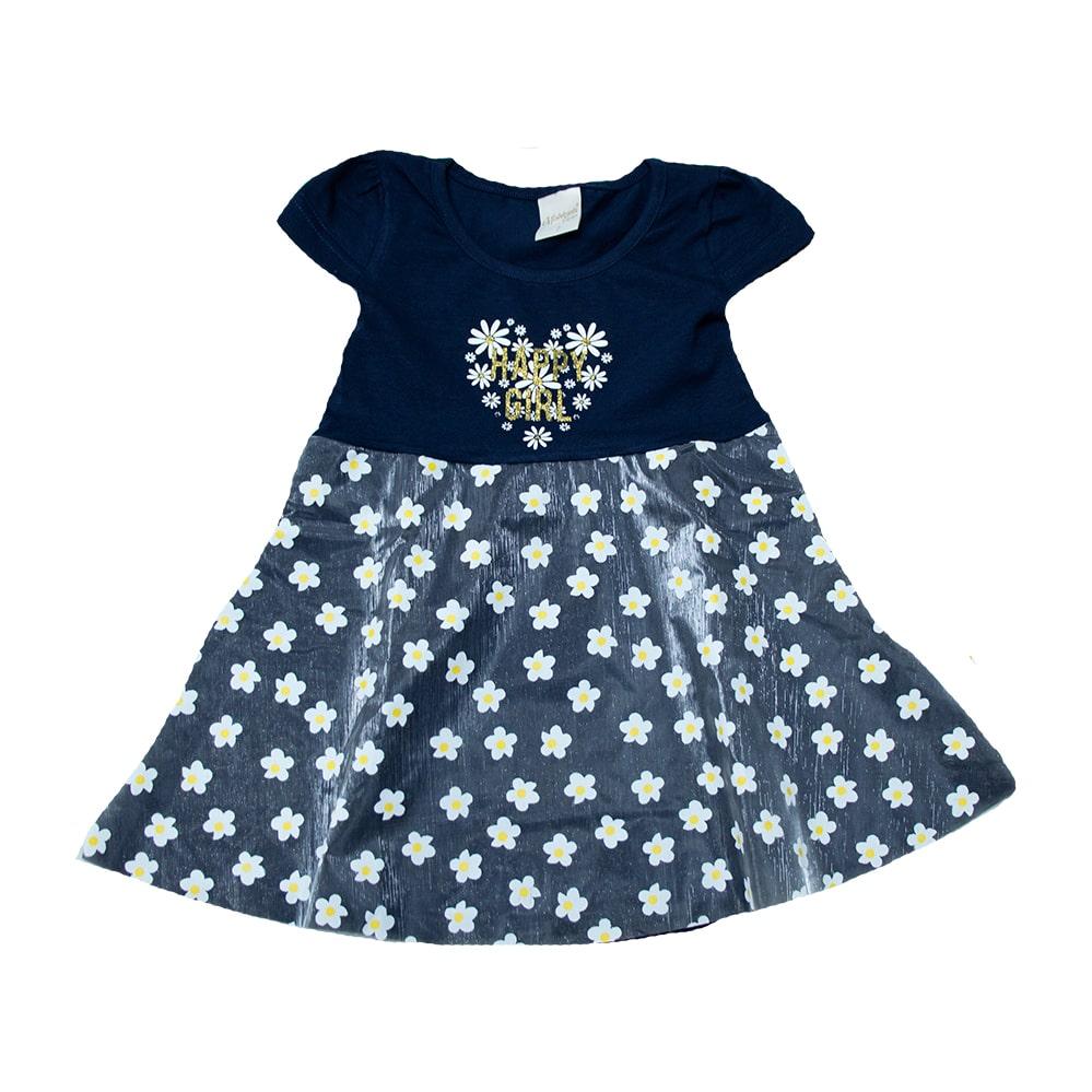 Vestido Infantil Margarida  Marinho  - Jeito Infantil