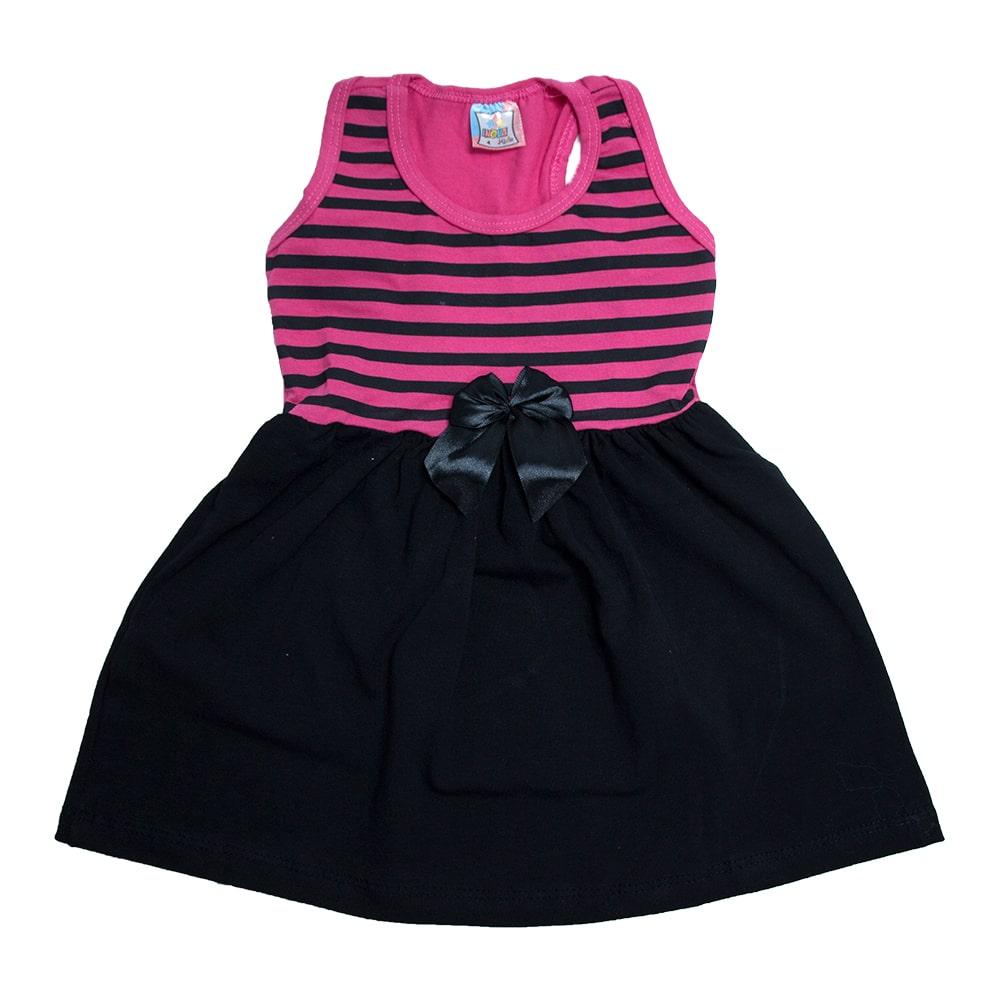 Vestido Infantil Nadador Listras Pink e Preto  - Jeito Infantil