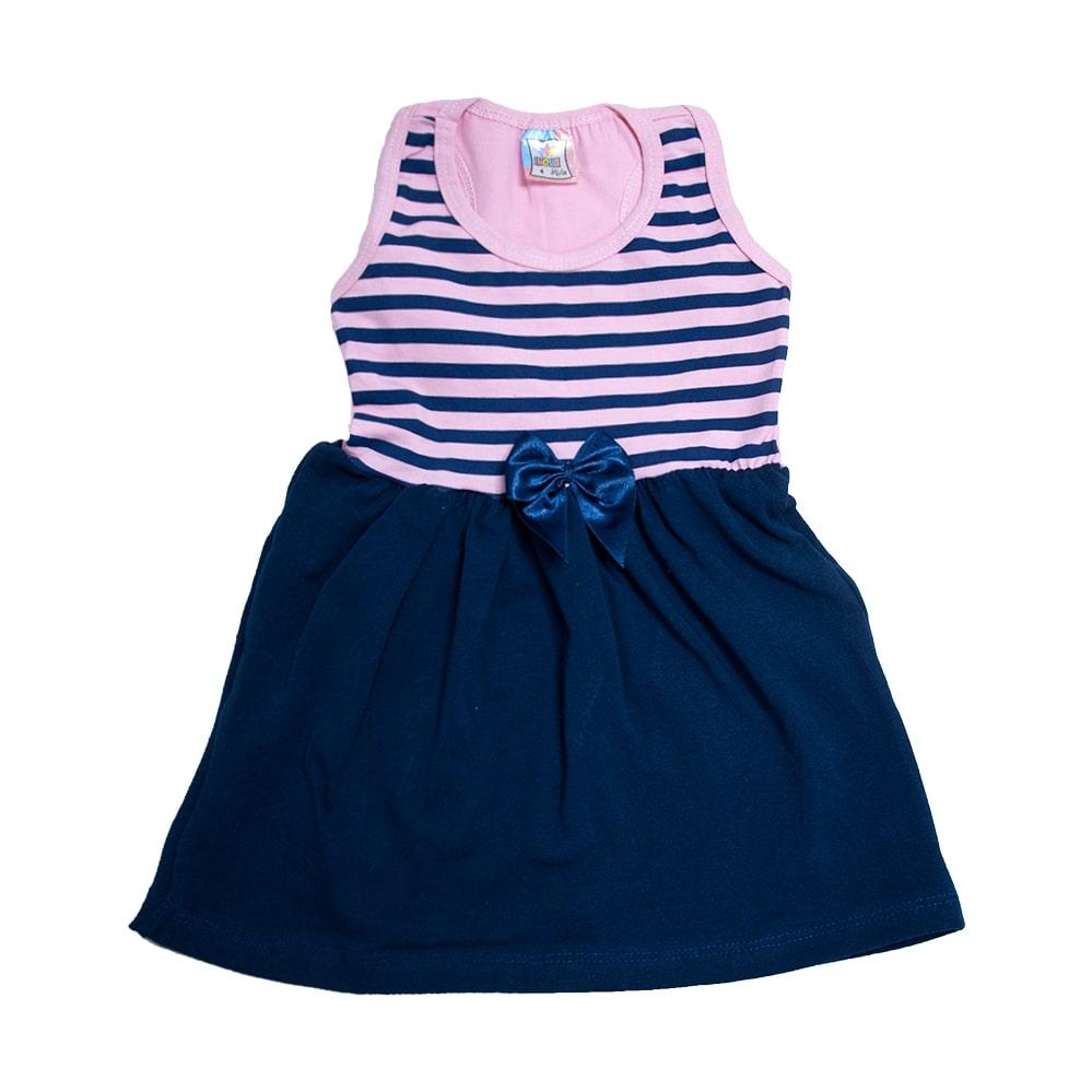 Vestido Infantil Nadador Listras Rosa e Marinho  - Jeito Infantil