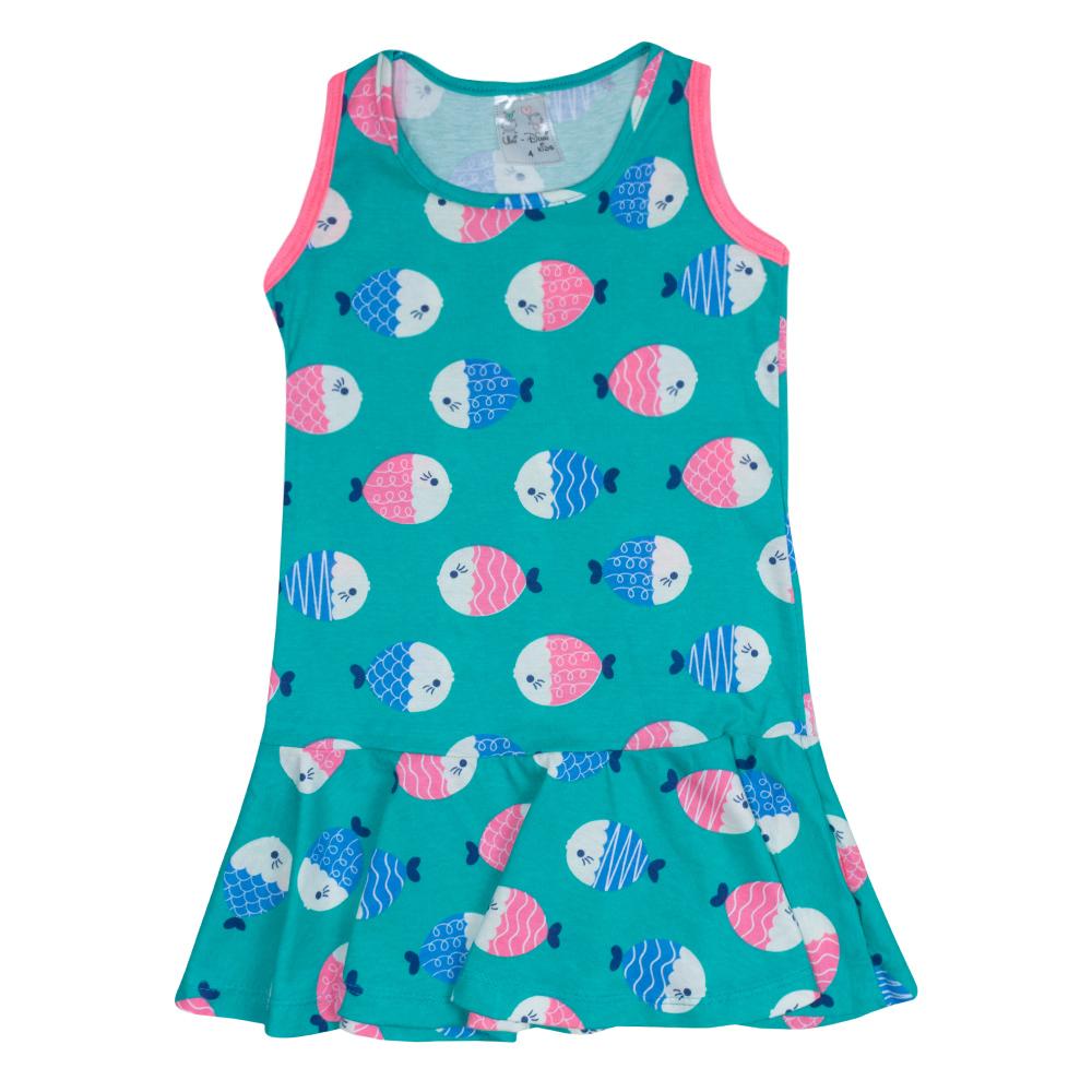 Vestido Infantil Peixinho Verde  - Jeito Infantil