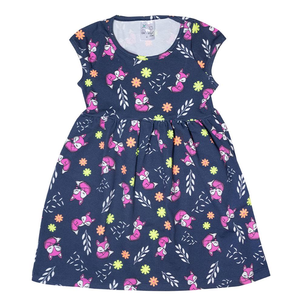 Vestido Infantil Raposa Marinho  - Jeito Infantil