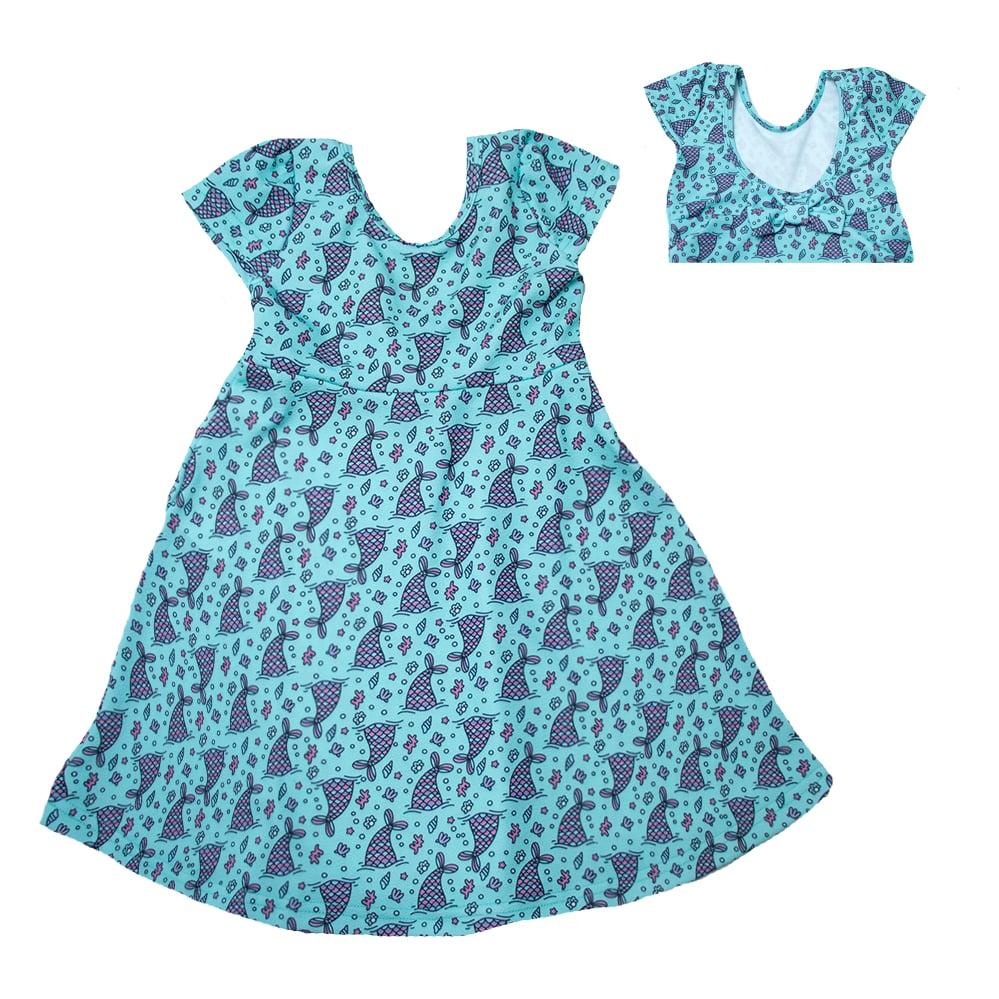 Vestido Infantil Sereia Verde  - Jeito Infantil