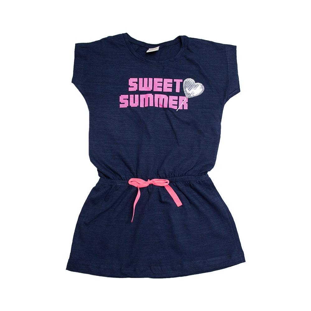 Vestido Infantil Sweet Summer Marinho  - Jeito Infantil