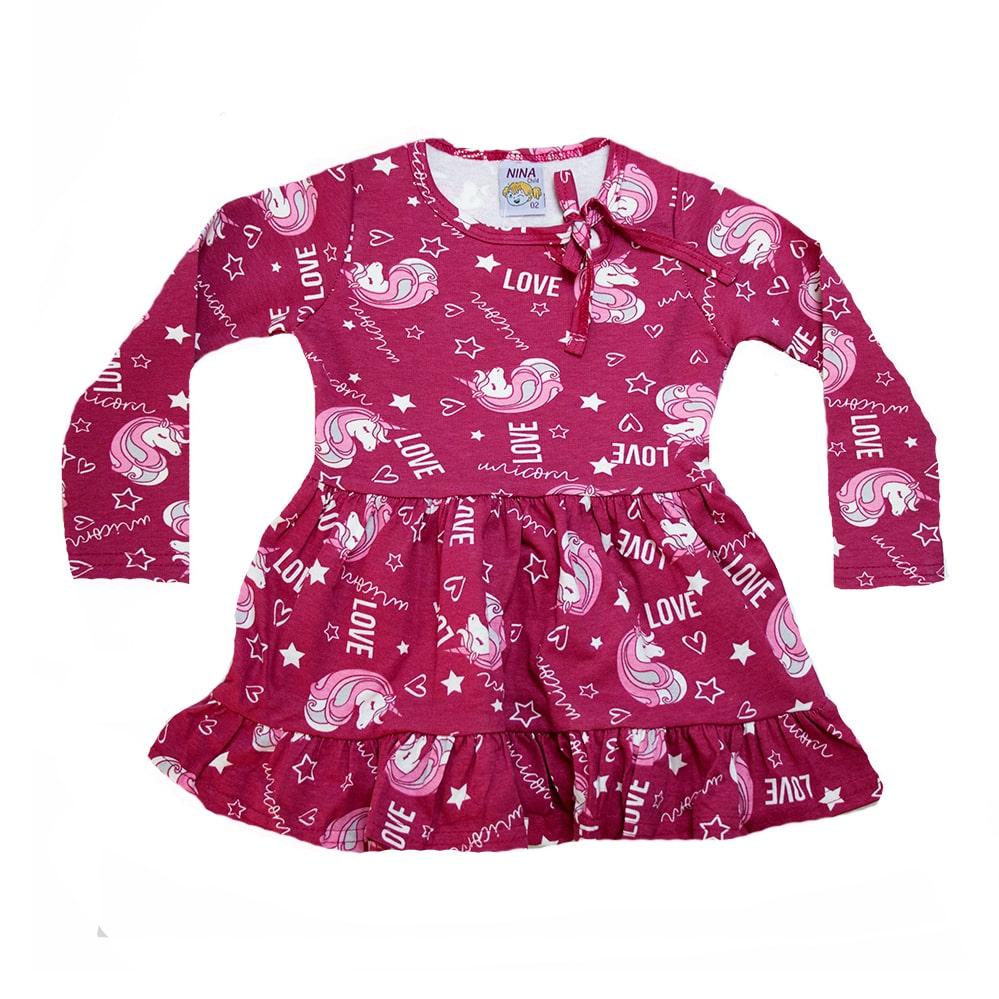 Vestido Infantil Unicórnio Carmim  - Jeito Infantil