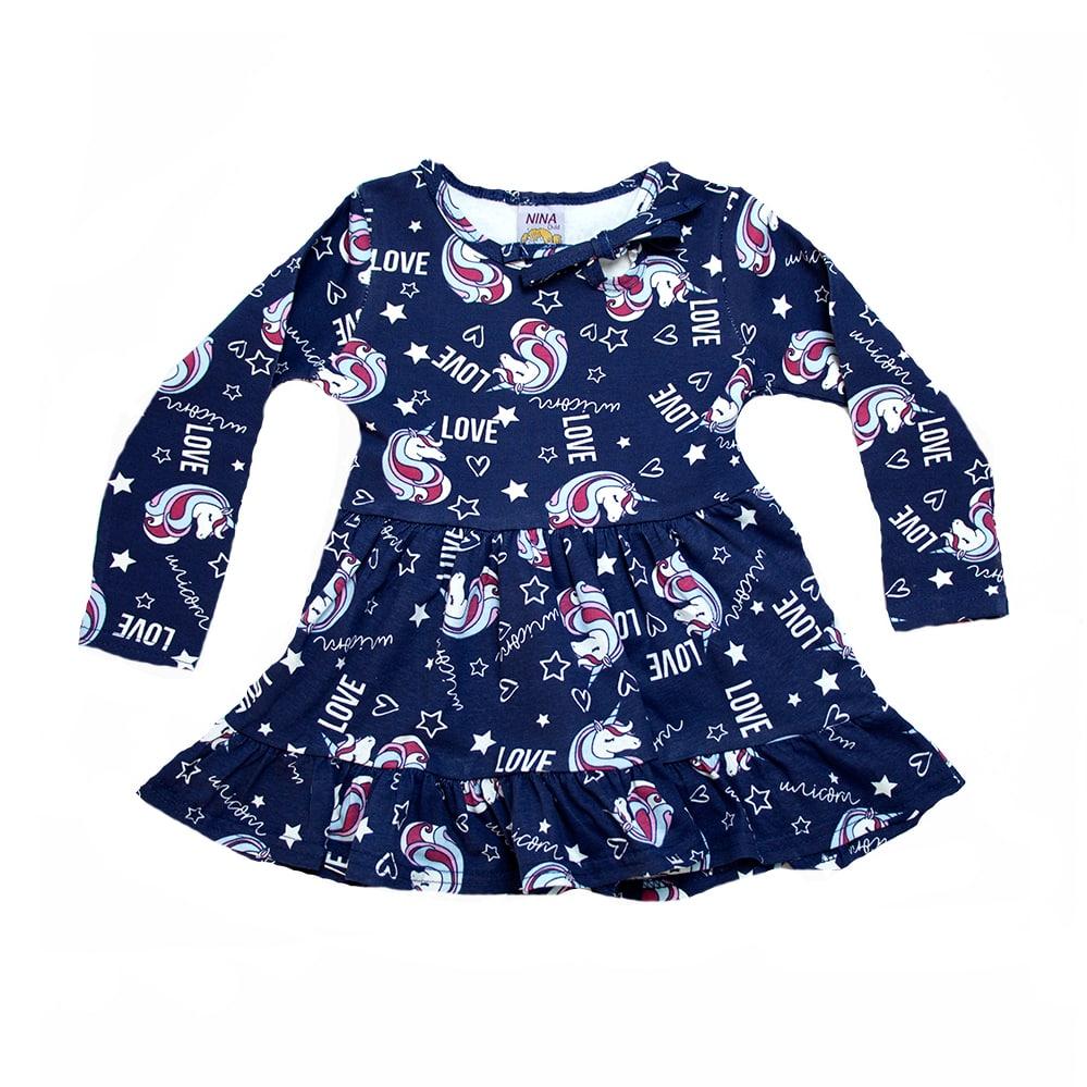 Vestido Infantil Unicórnio Marinho  - Jeito Infantil