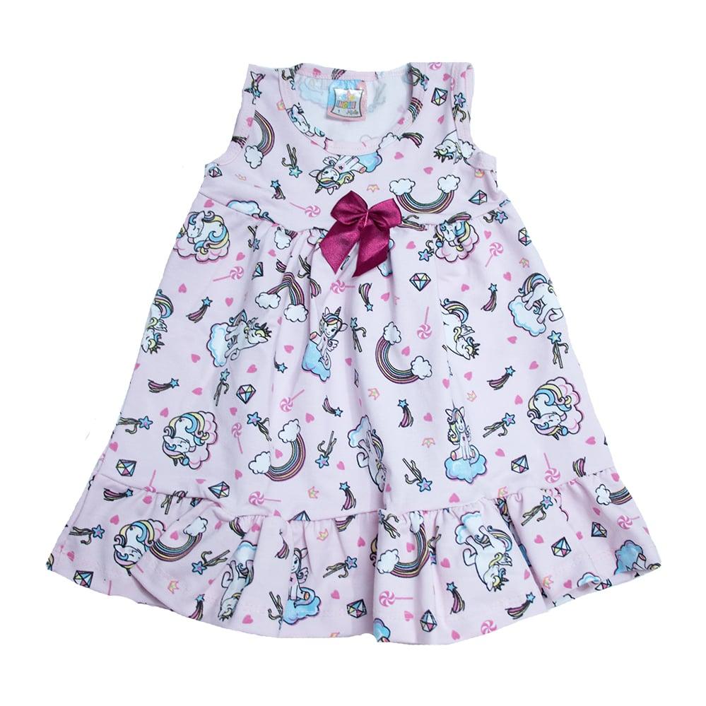 Vestido Infantil Unicórnio Rosa  - Jeito Infantil