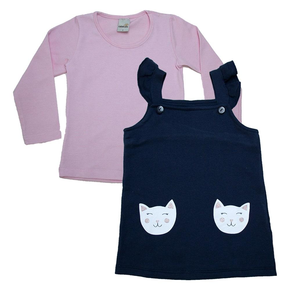 Vestido Jardineira Com Blusa Marinho  - Jeito Infantil