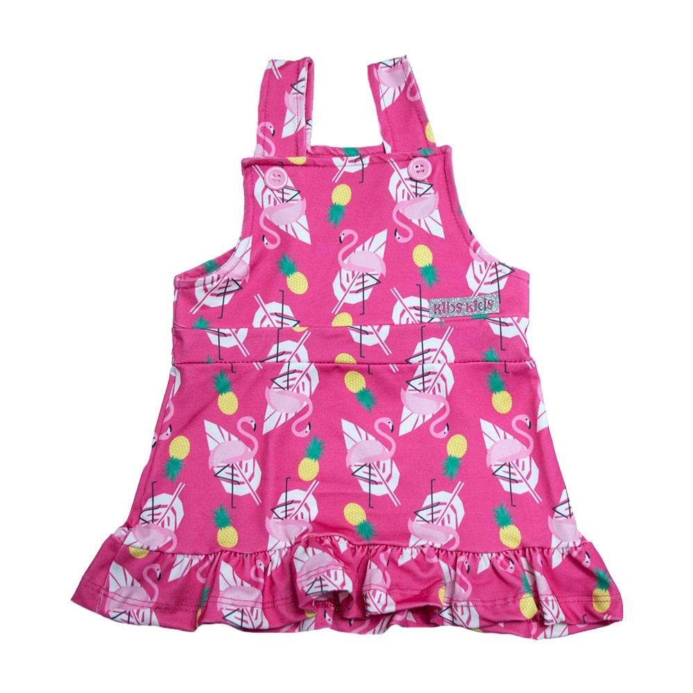 Vestido Jardineira Infantil Flamingo Pink  - Jeito Infantil