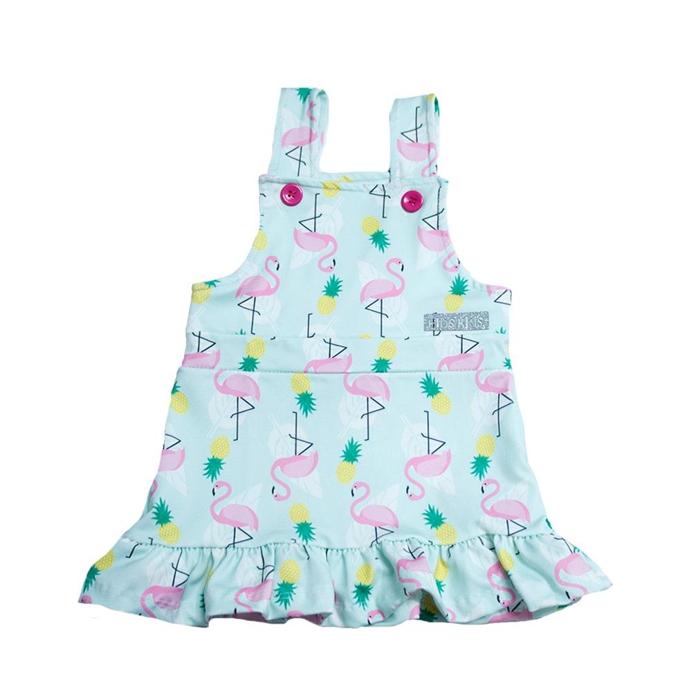 Vestido Jardineira Infantil Flamingo Verde  - Jeito Infantil