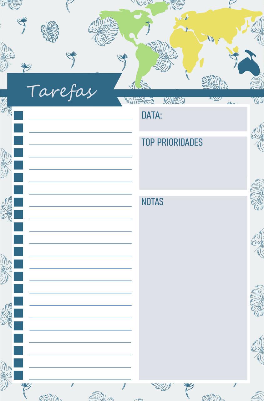 Bloco de Notas Mapa Brasil Tarefas