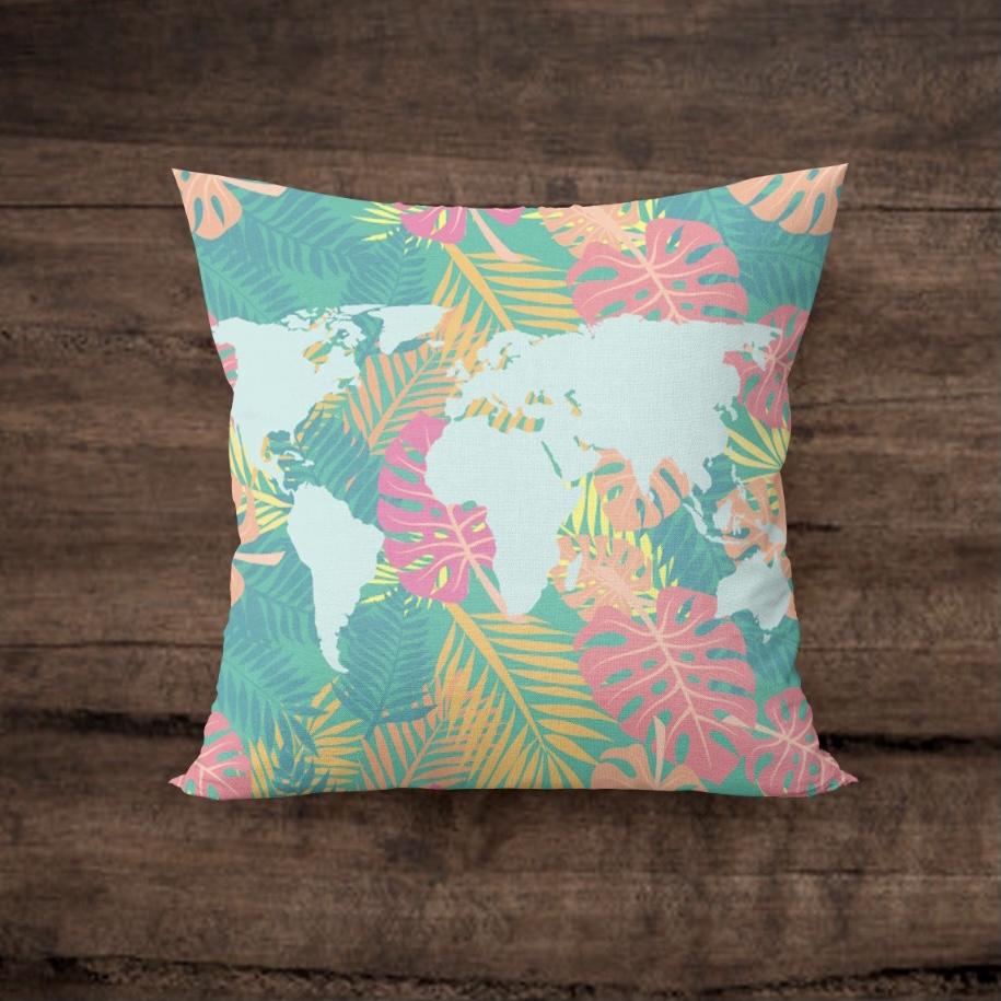 Capa de Almofada Mapa Hawaii Quadrada
