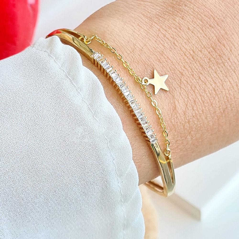 Bracelete Cravejado de Zircônias com Pingente Estrela