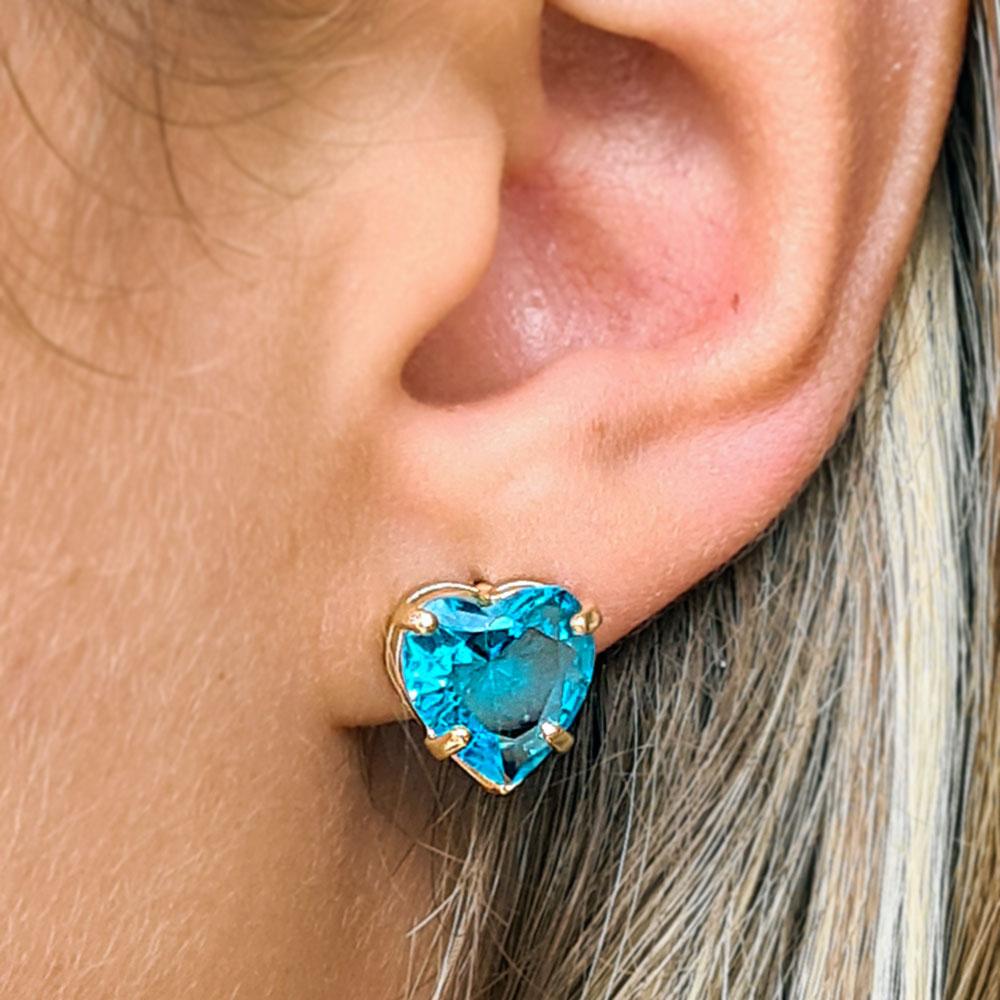 Brinco Coração com Pedra Azul de Zircônia